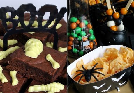 Schaurige Halloween-Brownies und coole Snackschalen für Halloween-Chips