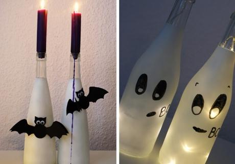 Mit dieser Flaschen-DIY-Idee erstrahlt die Halloween-Deko im schönsten Licht