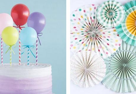 Hol dir bunte Papierfächer und Ballons zum Kinderfasching
