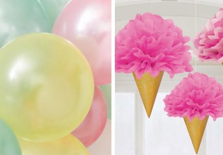 Eiswaffel-Pom-Poms und Luftballons - schmücke deine Eisparty bunt