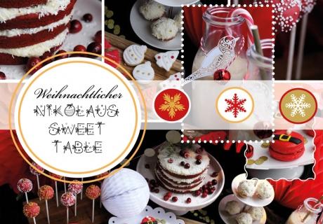 Der leckere Sweet Table mit weißen und roten Highlights sieht richtig weihnachtlich aus