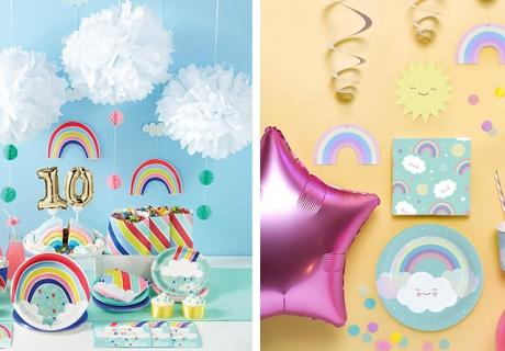 Deko mit Himmels-Motiven ergänzen deine Regenbogen-Party perfekt