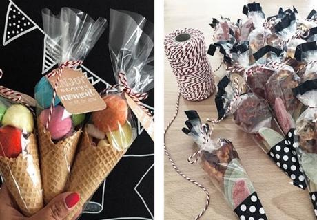 Mitgebsel kreativ verpackt - als Eistüten oder in kleinen Candy Bags mit schickem Bäckergarn verschnürt © Monefaktur